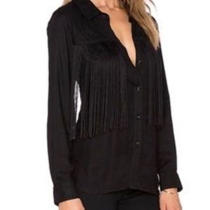 RAILS Black Fringe Button Down Shirt L New